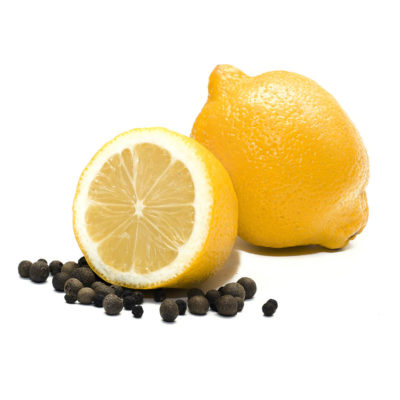 Lemon and black pepper. One whole lemon and its half and black p